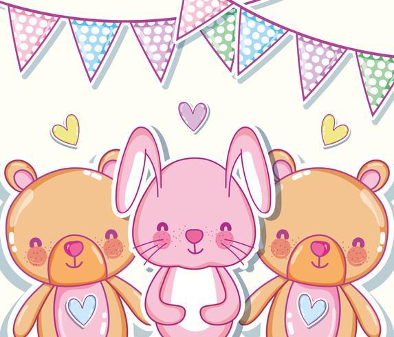 Simpatici cartoni animati di conigli e orsi vettore