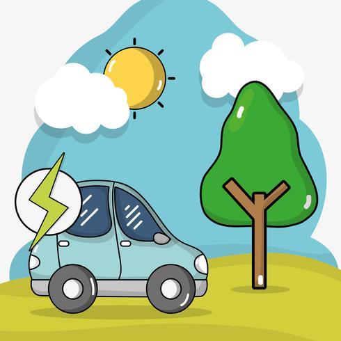 energia per auto elettrica con carica della batteria vettore