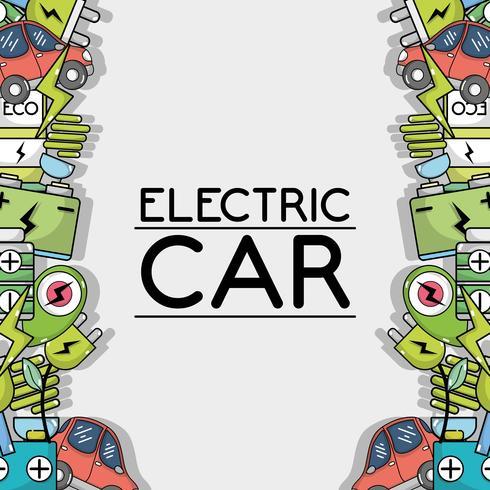 tecnologia di auto elettrica a sfondo di cura ecologia vettore