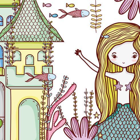 Sirena sul castello simpatico cartone animato vettore