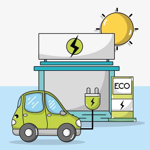 auto elettrica con cavo di alimentazione e stazione di ricarica vettore