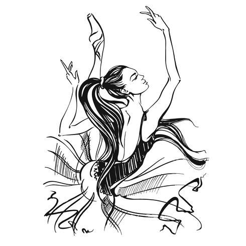 Ballerina. Balletto. Ragazza che balla sulle scarpe da punta. Illustrazione vettoriale