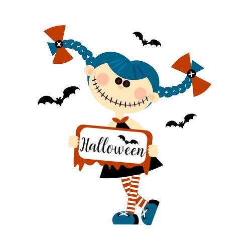 Halloween monster doll. Gli occhi sono pulsanti. Iscrizione. Biglietto di invito. Stile piatto Vettore. vettore