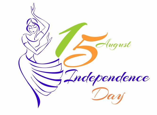 Festa dell'indipendenza dell'India. Biglietto d'auguri. Schizzo di una ragazza indiana danzante. Illustrazione vettoriale