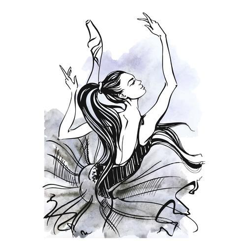 Ballerina. Balletto. Ragazza che balla sulle scarpe da punta. Acquerello. Vettore