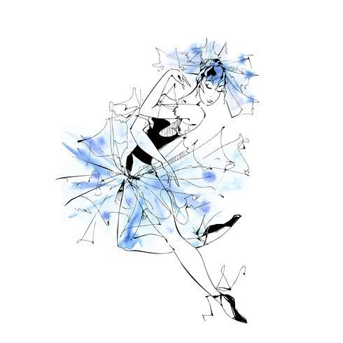 RGBBallerina. Balletto. Ragazza che balla sulle scarpe da punta. Illustrazione vettoriale ad acquerello