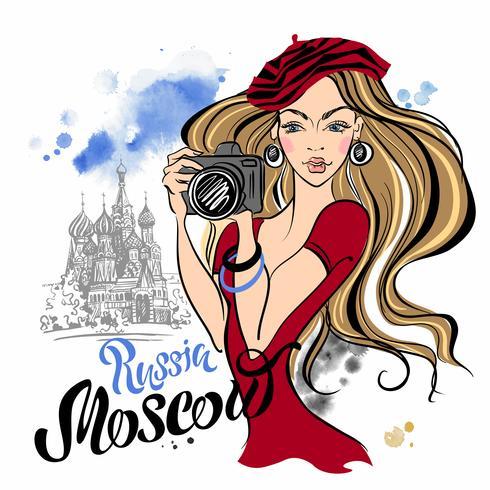 Turista della ragazza in Russia. Mosca. Cattedrale di San Basilio. Viaggio. Vettore
