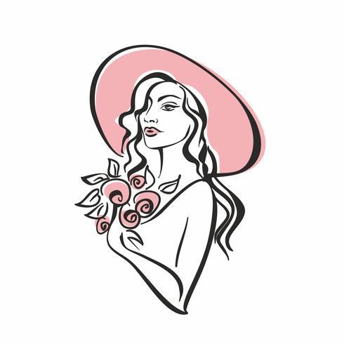 Ritratto di una ragazza in un cappello con fiori. Vintage ▾. Modello di ragazza elegante. Vettore