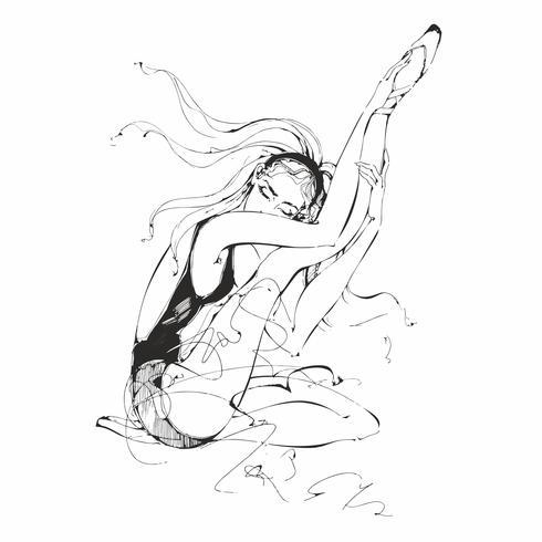 Ballerina. Ballerino. Balletto. Grafica. Ragazza. Illustrazione vettoriale