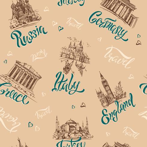 Modello senza soluzione di continuità Paesi e città. Lettering. Schizzi. Punti di riferimento. Viaggio. Russia, Grecia, Turchia, Italia, Germania. Vettore. vettore