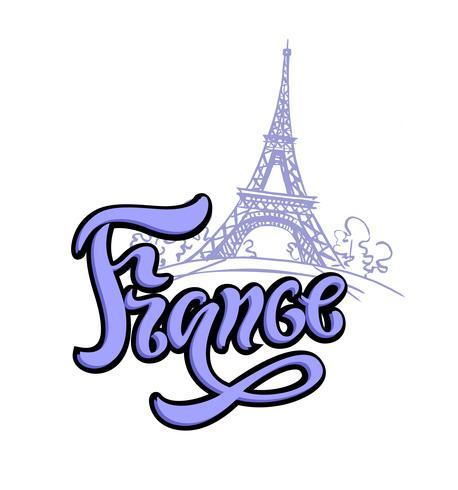 Viaggio. Il viaggio in Francia, a Parigi. Lettering. Uno schizzo della torre Eiffel. Il concetto di design per l'industria del turismo. Illustrazione vettoriale