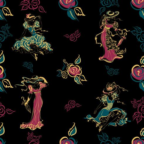 Modello senza soluzione di continuità Ragazze d'epoca Belle donne in abiti vintage e cappelli. Mazzo di rose fiori. Stile vintage. Design per tessuto e carta da imballaggio. .turquoise, gold, black.Vector. vettore