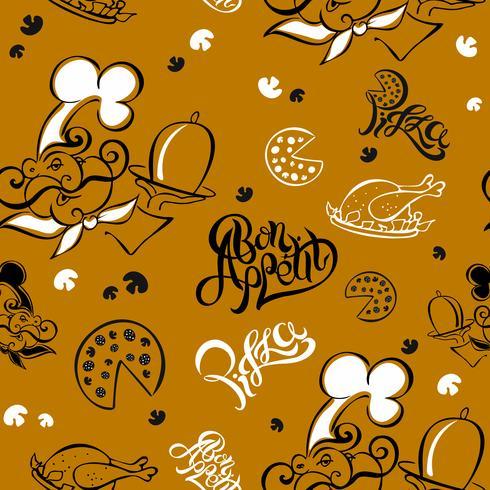 Modello senza soluzione di continuità Chef. Tema della cucina Logotype. Cucinare. Buon appetito. Pizza. Lettering elegante. illustrazione vettoriale. vettore