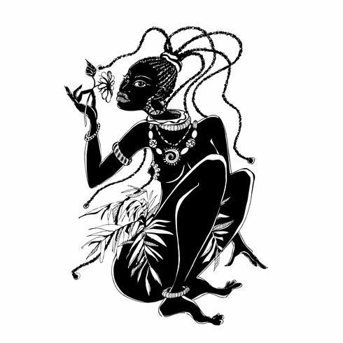Ragazza africana Grafica. Donna nera. Immagine etnica. Vettore. vettore