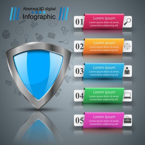 Scudo, sicurezza - infografica di carta commerciale. vettore