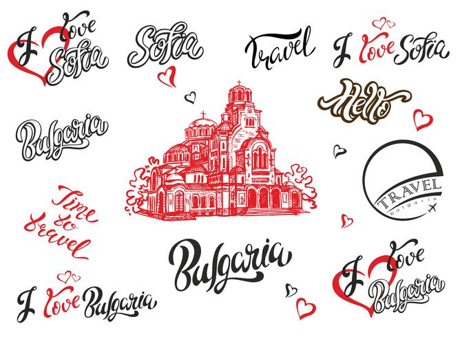 Bulgaria. Sofia. Set di elementi per il design. Lettering. Lo schizzo della cattedrale di Alexander Nevsky. Travel.Vector. vettore