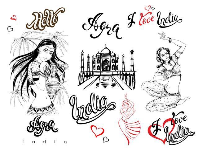 India. Set di elementi per il design. Agra. Schizzo di Taj Mahal. Ragazze indiane in costume nazionale Ballerino. Lettering elegante. Viaggio. Iscrizioni finite Vettore. vettore