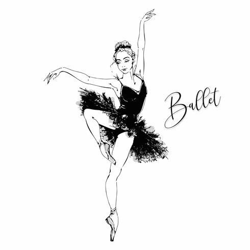 Ballerina. Cigno nero. Balletto. Danza. Illustrazione vettoriale