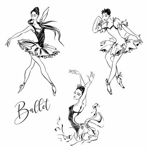 Ballerina. Ballerino. Balletto. Carmen. Grafica. Illustrazione vettoriale