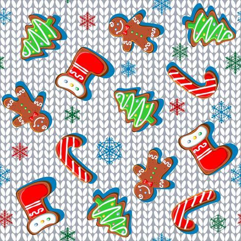 Tessuto a maglia con pan di zenzero e fiocchi di neve. Modello senza soluzione di continuità Bianca. Vettore. vettore