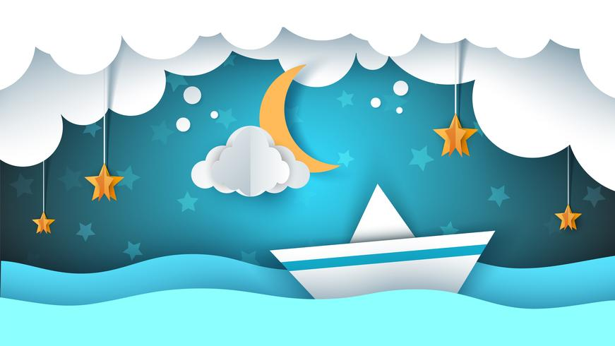 Illustrazione di carta origami Nave, nuvola, stella, luna. vettore