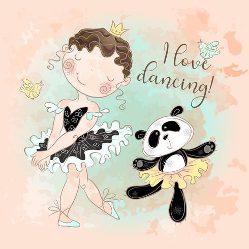 Piccola ballerina che balla con la ballerina di Panda. Amo ballare. Iscrizione. Vettore