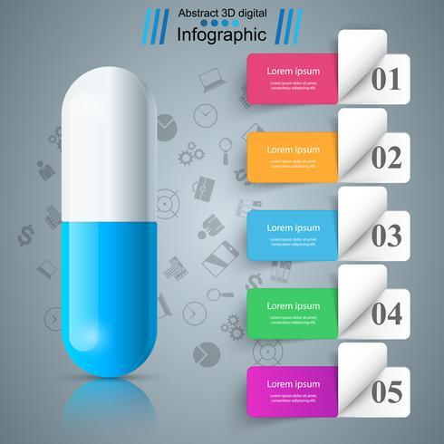 Pillola tablet, farmacologia infografica. vettore