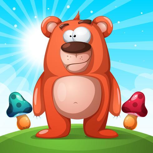 Carattere carino, divertente orso - illustrazione di paesaggio vettore