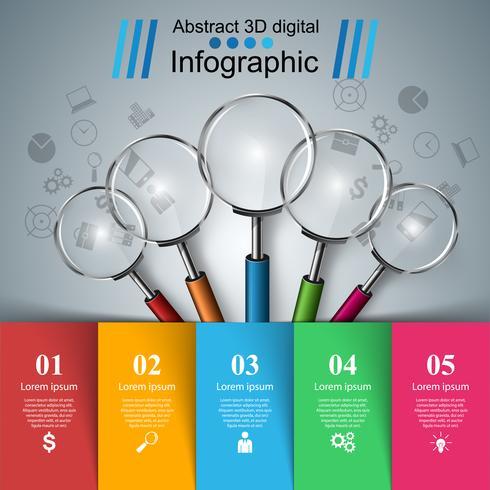Infografica aziendale Icona della lente di ingrandimento vettore
