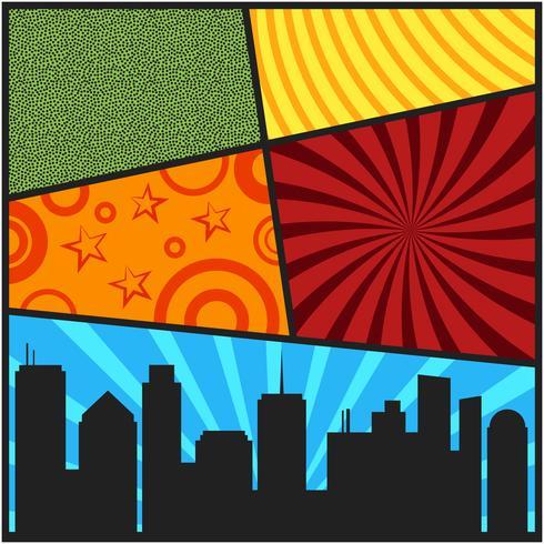 Modelli di copertina di una pagina di fumetti pop art con silhouett di città vettore