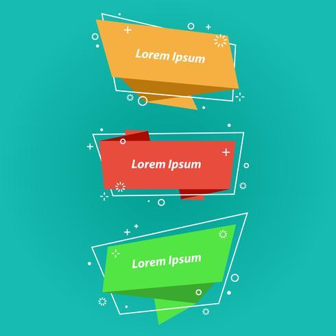 Bolle di discorso di stile origami, banner, adesivi vettore