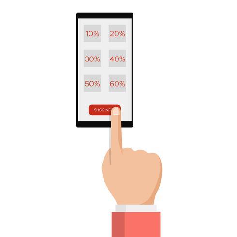 E-commerce, e-commerce, vendita shopping online, mano con smartphone, messaggio etichetta sconto vettore