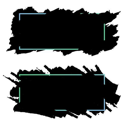 Due bandiere nere, intestazioni di pennellate di inchiostro, set vettoriale