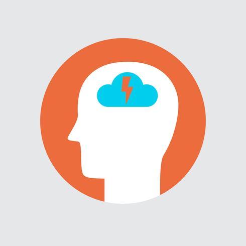 Stile piatto icona di colore Brainstorming testa vettore