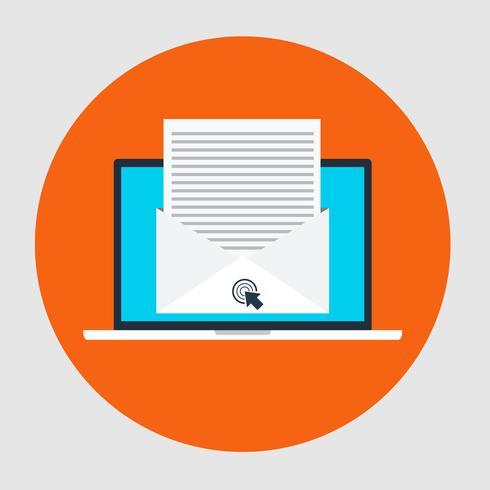 Icona di stile piano del concetto Email marketing vettore