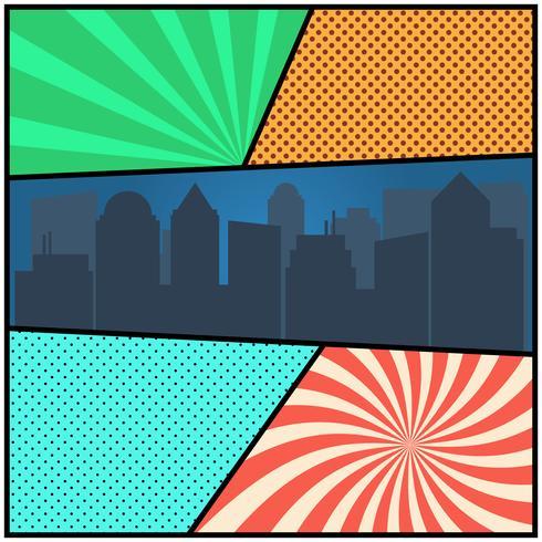 Modello di pagina comica pop art con sfondi radiali e silhouette della città vettore