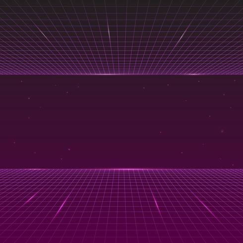 Stile anni '80, onda futuristica synth retro, sfondo futuro linea retrò vettore