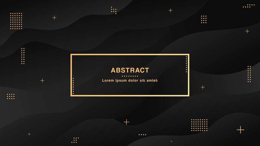 Sfondo liquido astratto nero con forme semplici con composizione di sfumature alla moda vettore
