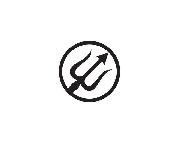 Logo trisula magica tridente vettore