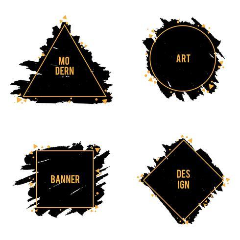 Vector set di cornici alla moda di pennellate di inchiostro