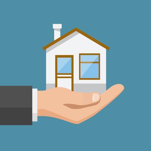 Offerta immobiliare, uomo d'affari che tiene una casa vettore