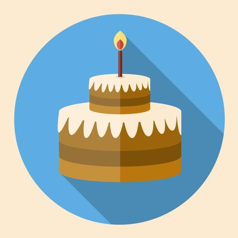 Icona piana torta di compleanno al cioccolato con ombra lunga vettore