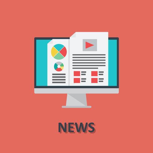 Icona di notizie online computer in stile piano vettore