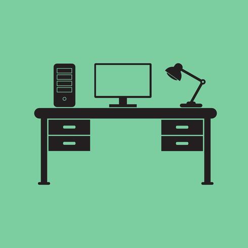 Illustrazione vettoriale del posto di lavoro ufficio moderno