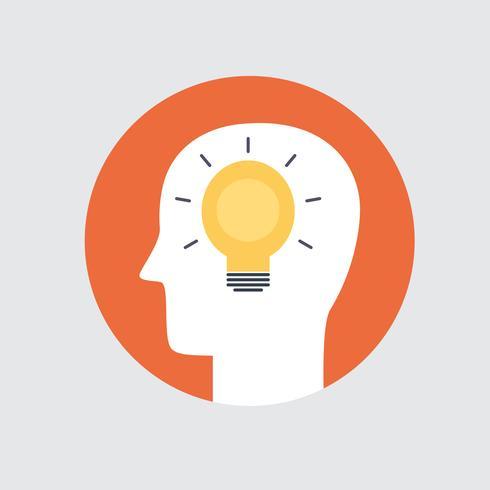 Simbolo di colore di brainstorming stile piano vettore