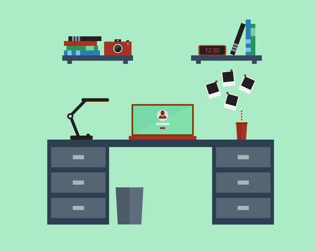Vector l'illustrazione del posto di lavoro moderno nella progettazione piana