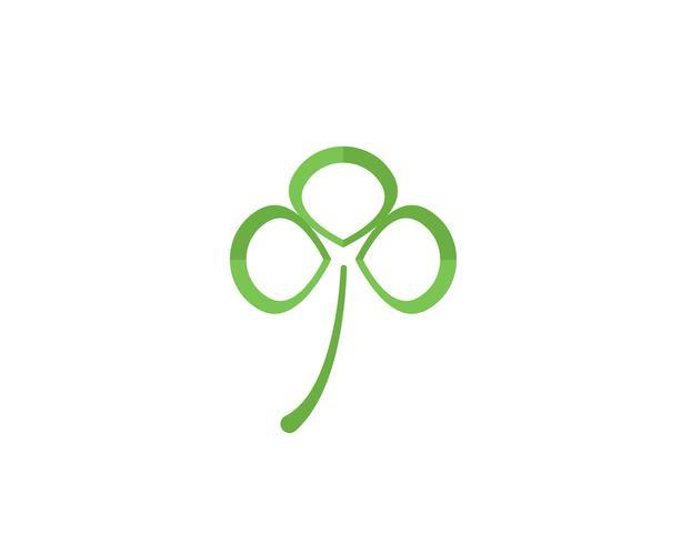 Modello di logo foglia verde trifoglio vettore