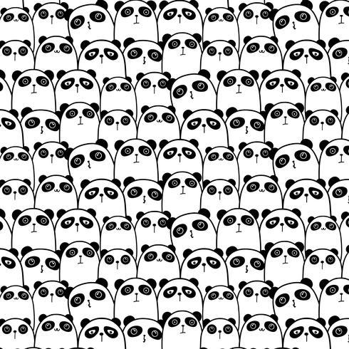 Panda Vector Pattern Background sveglio. Doodle divertente. Illustrazione vettoriale a mano.