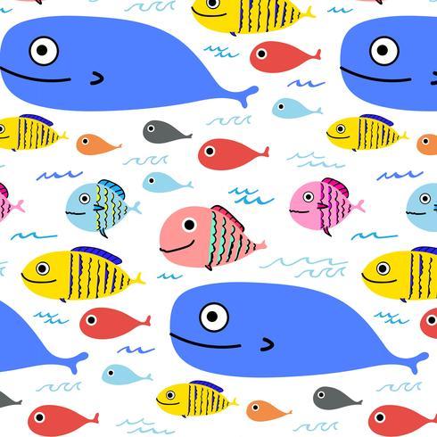Fondo variopinto astratto del modello di pesce. Illustrazione vettoriale