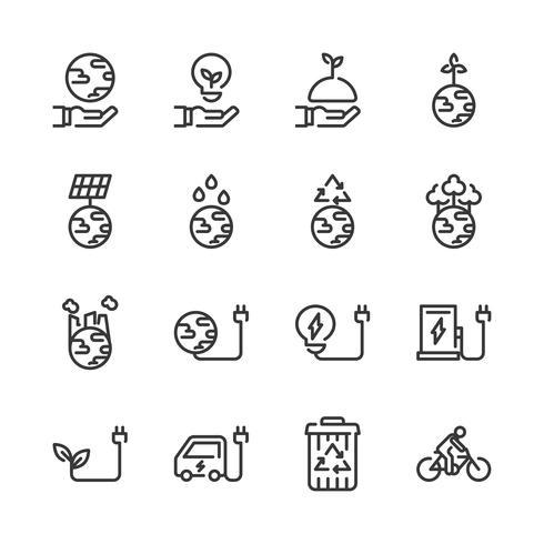 Set di icone di ecologia. Illustrazione di vettore
